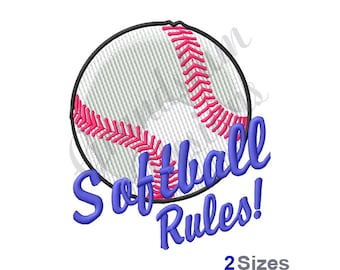 Softball Rules! - Machine Embroidery Design