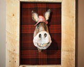 Ceramic Donkey Sculpture Wall Art