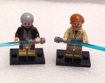 2x Minifigs - Obi Wan Kenobi (Old and Young) with Lightsaber | Custom Star Wars Minifig | 100% Compatible |
