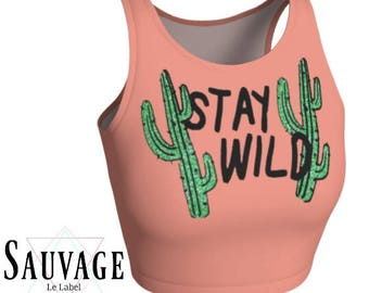 stay wild - Athletic pink and white Crop Top • Festivals and yoga classes approved • handmade in Montreal