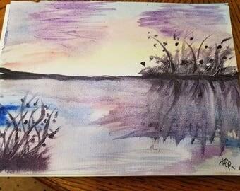 Mystic Sunset/Orginal watercolor painting