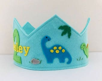 Dinosaur Felt Crown, Birthday Crown, Personalized, Wool Felt, Velcro, Smash Cake, Photo Prop