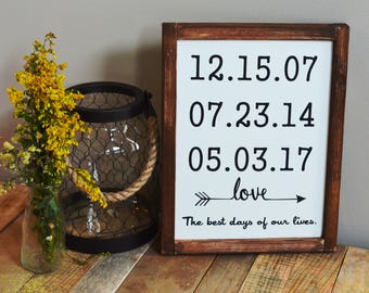 Special Dates Sign / Dates Sign / Custom Family Sign / Important Dates Sign / Anniversary Gift / Gift for Her / Birth Date Sign