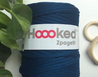 Petrol Melange* Blue Hoooked zpagetti t shirt yarn, recycled cotton tarn, arn knitting supplies, crochet, macrame plant hanger cord