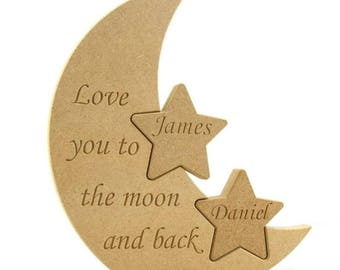 Moon and back, To the moon and back, Engraved moon, engraved stars, gift idea, present idea,