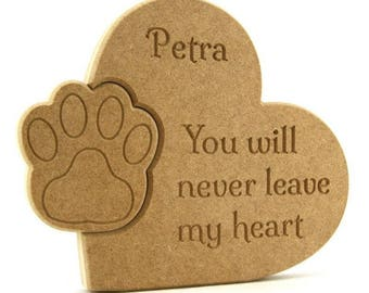 Pet memorial plaque, Heart memorial plaque, Never leave my heart plaque, Never leave our hearts plaque, Wooden memorial