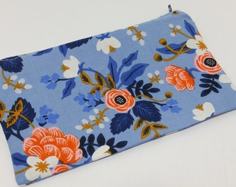 Pink and Blue Flowers Novelty Zipper Pouch - makeup bag; pencil case; gift for her; cosmetic bag; carry all; gadget case;
