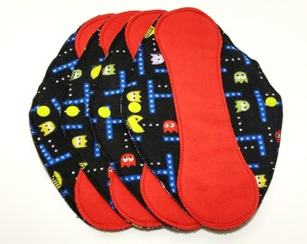 "Red on Pac-Man Reusable Pantyliner with Wings (9.5"") - menstrual pad; panty liner; cloth pads; cotton; washable liner; flannel"