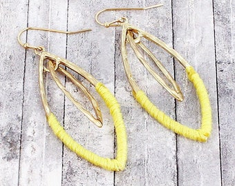 Yellow Fabric-Wrapped Goldtone Marquise EARRINGS