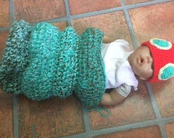 Newborn hungry caterpillar cocoon and hat
