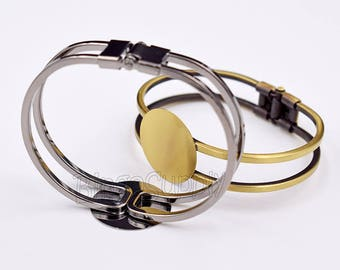 5pcs/Lot 25mm Round Glue Pad Cuff Bracelet-Flat Pad Bracelet Blank-Antique Bronze-Gunmetal-Rose Gold-Silver-20mm/25mm Pad as choose