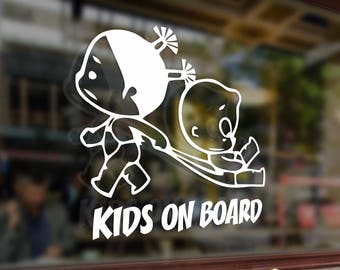 Kids on board childrens baby girls Vinyl Stickers Funny Decals Bumper Car Auto Computer Laptop Wall Window Glass Skateboard Snowboard Helmet