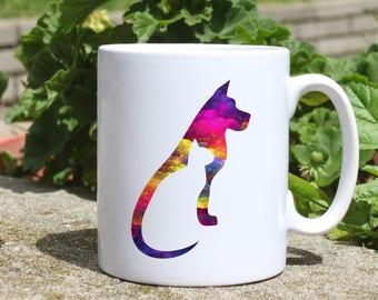Cat and dog mug - Pets watercolor mug - Colorful printed mug - Tee mug - Coffee Mug - Gift Idea