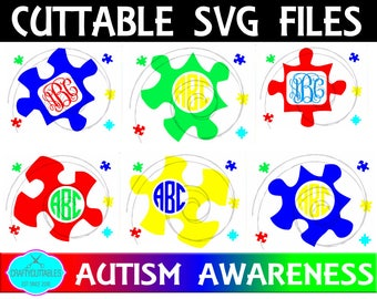 Monogram Autism SVG, PNG Files Silhouette Cameo and Cricut Files