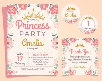 Princess Birthday Card | Princess invitation | Princess birthday invitation with flowers| Printable Princess birthday card + Thank You Card
