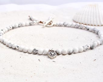 Semi-precious gemstone anklet with Hill Tribe Silver charm - howlite beads and charm anklet