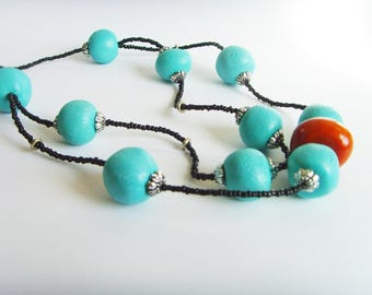 Amber beads blue turquoise and imitation Pearl necklace.