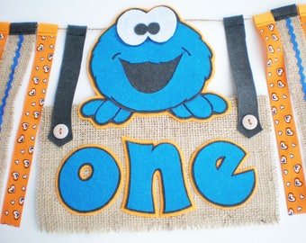 Cookie Monster party Sesame street High chair banner Blue orange party garland First children's banner Baby wall decor One birthday decor