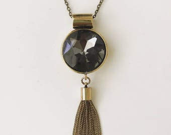 Dark Gem Tassel Necklace
