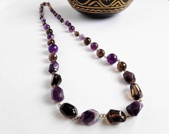 Amethyst and Smokey quartz long necklace