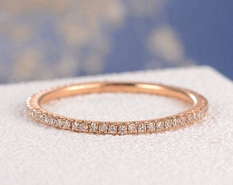 Stacking Ring Rose Gold Wedding Band Women Diamond Thin Eternity Band Simple Micro Pave Dainty Minimalist Jewelry Matching Wedding Bridal