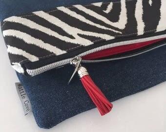 Zebra Stripes Denim Foldover Clutch Bag - Ladies Evening Bag - Black and White Clutch