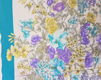Vintage Scarf Flowers and Blue Border