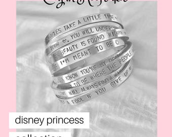 Disney Princess Collection | Cuff Bracelet | Personalized | Handstamped