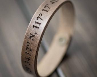 Latitude Longitude Bracelet, Personalized Bracelet, GPS Coordinates, Leather Bracelet, Custom Coordinates Bracelet, Gift for him- Driftwood