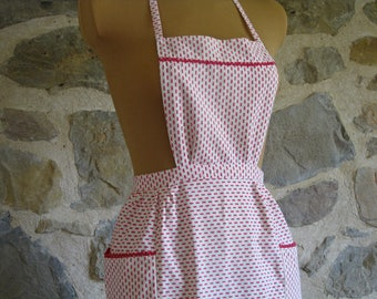 1950s handmade bib apron, red and white French pinny
