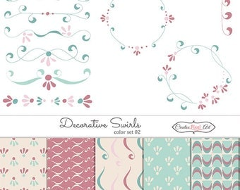 Decorative swirls pastel , set 02 , clipart and paper digital  download , personal and commercial use