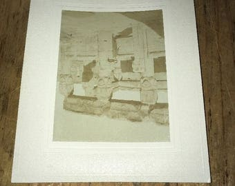 Antique Mounted photo: Dendera Egypt Temple late 1800s/early 1900s