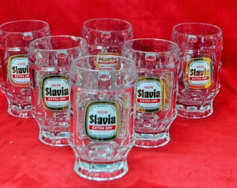 Set of 6 mugs beer 25 cl extra Slavia drive