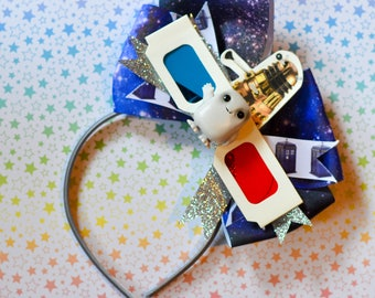 Doctor Who Fascinator or Bow, with Adipose and 3-D glasses
