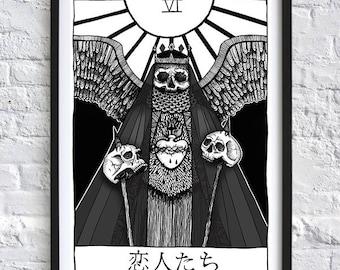 Decorated Dark Art Grim Reaper Macabre Skull Skeleton Tarot Card A4 print