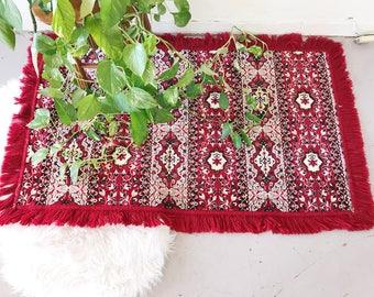 Vintage Velvet Throw / Velvet Red Table Runner / Red Velvet Table Clothe / Velvet Tapestry / Velvet Rug