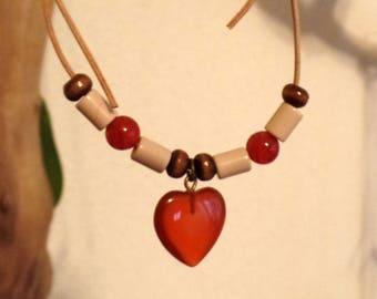 Necklace-Spiritual stability-carnelian, EM, wood leather