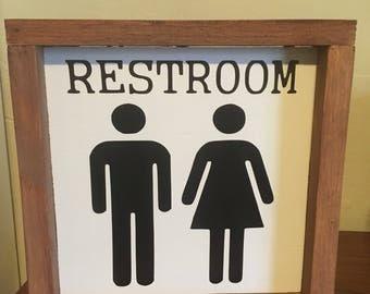 Restroom sign farmhouse style