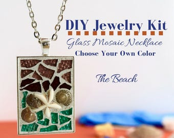 DIY Jewelry Making Kit, Beach Mosaic Glass Necklace Activity, Silver Rectangle Bezel, Choose Your Beach Colors w/ sea shells & starfish bead