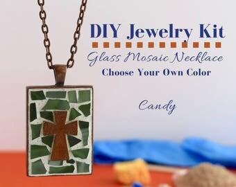 Cross Necklace DIY Kit, Do It Yourself Necklace Making Kit, Religious Christian Craft Idea, Sunday school Activity, Gift Idea Under 15