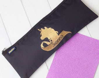 Personalised Glitter Unicorn Head Pencil Case