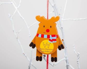 Personalised Reindeer Jumping Jack Christmas Bauble