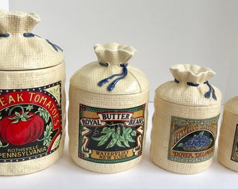 Vegetable canister etsy for Hearth and home designs canister set
