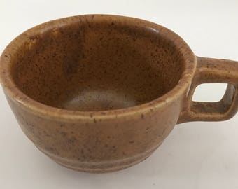 Vintage Monmouth Pottery Maple Leaf USA Mojave Brown Speckled Mug Cup