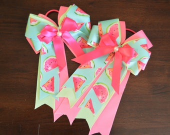New pink and turquoise watermelon horse show bows!
