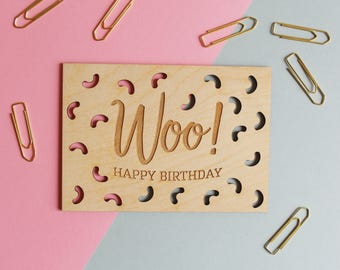 Woo Birthday Card - Wooden Postcard, Happy Birthday Card, Wood Cut Card, Laser Cut Wood Card, Wood Postcard, Wooden Card, Gift