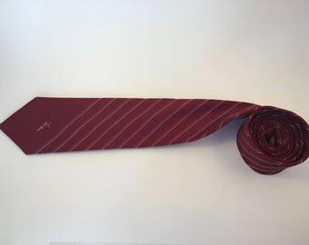 Vintage JOHN WEITZ maroon blue/white striped necktie