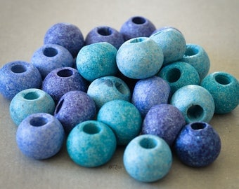 Greek hand made ceramic beads, 12 mm, blue mix, large hole, 10 pcs