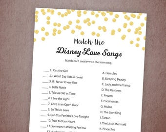Match the Disney Love Songs Game, Bridal Shower Games, Gold Confetti Wedding Shower, Instant Download, Love Songs Match Game, A001