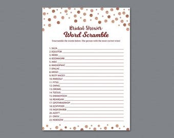 Rose Gold Bridal Shower Word Scramble Game Printable, Unscramble, Wedding Party Game, Red Burgundy, Activity, Word Search, Find Words, A009